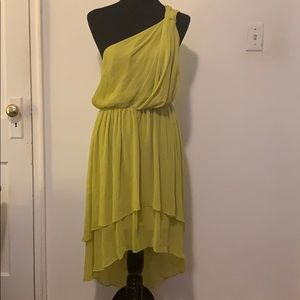 Max and Cleo Lime Yellow Shoulder dress M New